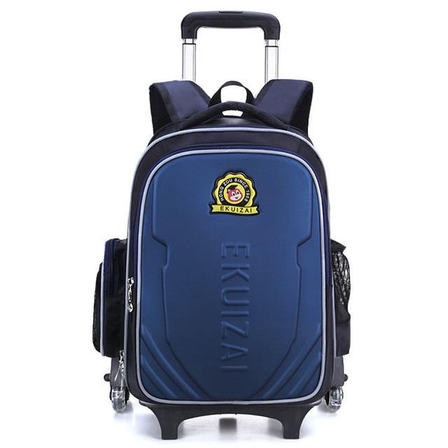 Kids Trolley School Bags For Boys Children Backpack 2 Wheels Rolling Backpacks Removable Book Bag Girls