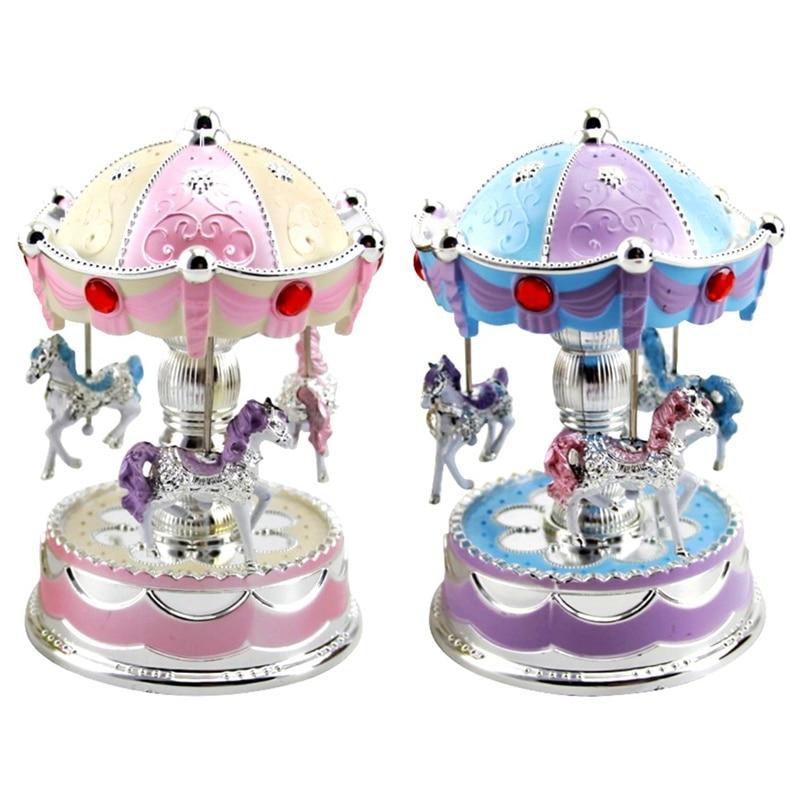 2019 New Fashion Children Colorful Lights Shine Carousel Music Box Baby Sound Toys Christmas Birthday Gift