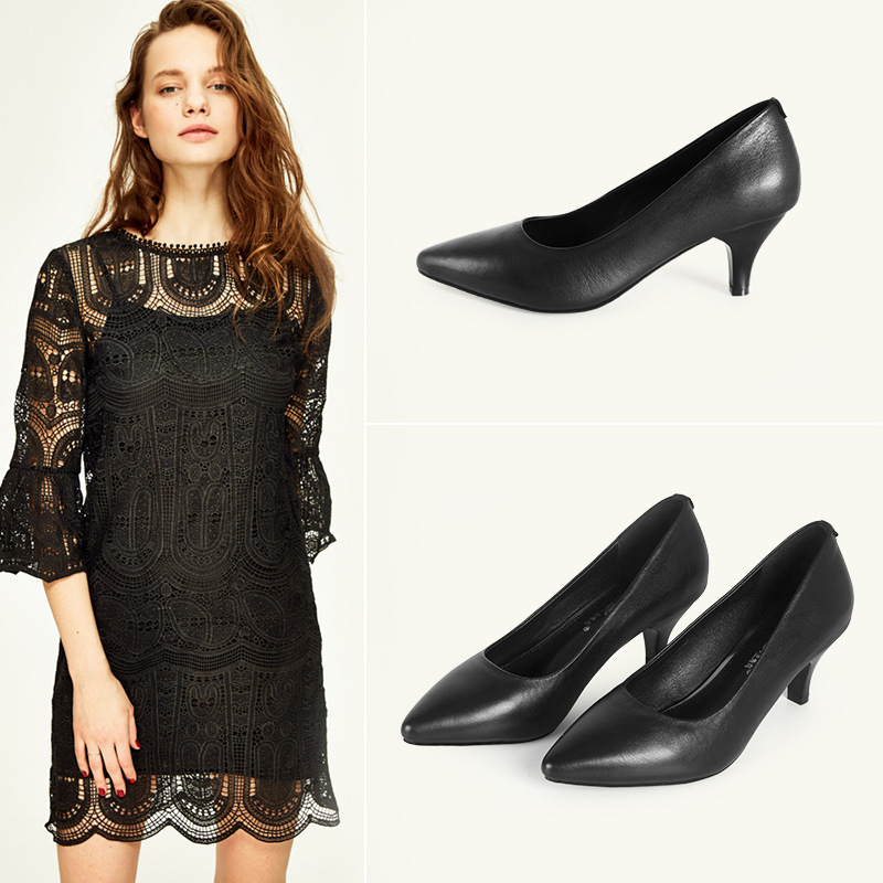 Comfortable fashion women leather high heels pumps work shoes office wear 5cm heels fashion women shoes
