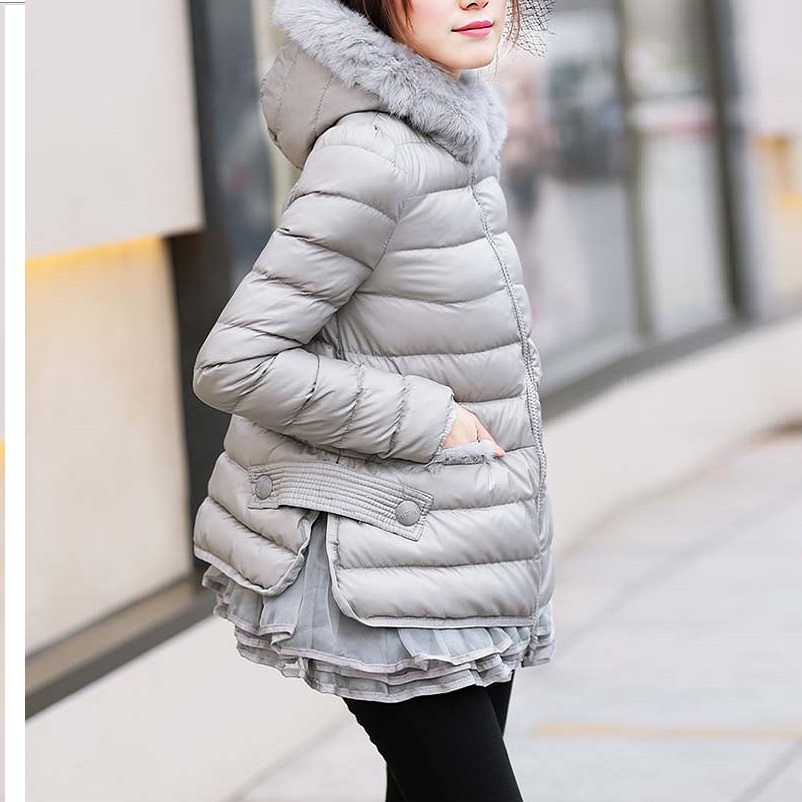 Tailor made Winter cotton padded Hooded jacket coats Ruffled hem fashion oversize overcoats outwear   parkas   casual outfit 5XL 6XL