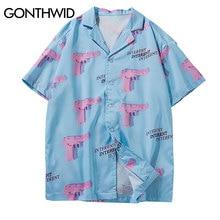 GONTHWID אקדח אקדח הדפסת אלוהה הוואי חוף חולצות 2020 Mens קיץ מזדמן קצר שרוול Streetwear הוואי חולצה אופנה חולצות