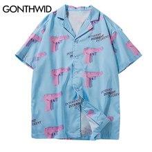 Мужская пляжная рубашка с принтом GONTHWID, надпись «Алоха Гавайи», летняя повседневная Уличная одежда с коротким рукавом, гавайская рубашка, 2020