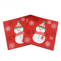 Красный Снеговик Рождество Бумага салфетки Товары для праздников и вечеринок ткани салфетки украшения guardanapo 33 см * 33 см 20 шт./упак./лот