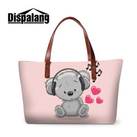 Dispalang Women Shoulder Bag Cartoon Animals Women Print Handbags Cute Beer Music Messenger Bag Large Crossbody Bags Women Bag