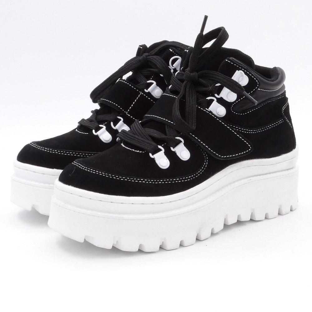 Tornozelo botas femininas 2020 inverno camurça tornozelo boot feminino rendas até apartamentos plataforma confortável punk boot preto sapatos marrons - 4