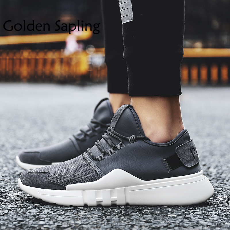 Golden Sapling Mens Sneakers Cushioning Men Sport Shoes Male Tenni Running Shoes Rubber Breathable Air Mesh Fabric Man Sneakers