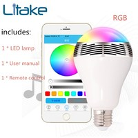 Litake Wireless Bluetooth RGB Speakers LED Light Bulb Music Playing Color Changing Lamps with Remote Control