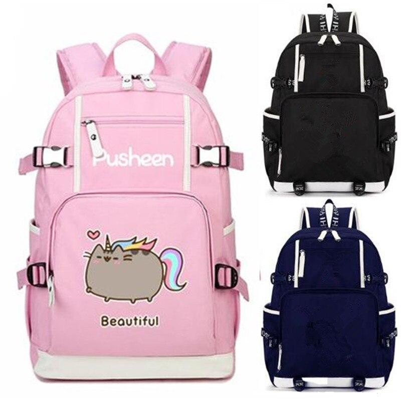 Beautiful Reading Cat Unicorn Pink Backpack School Bag Casual Teenagers Student Book Travel Laptop Girl Boys