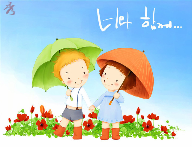korean cartoon boy and girl with umbrella canvas painting childrens room decor modular picture on the - Painting For Childrens