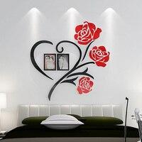 قلب الحب ملصقات الحائط زهرة ستيريو 3d الاكريليك الزفاف كريستال اللوحة الزخرفية المنزل غرفة نوم سرير غرفة المعيشة