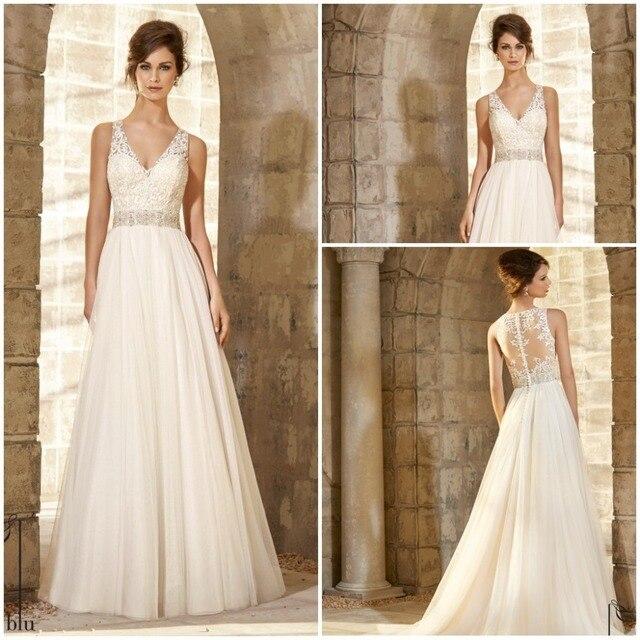 Lace Top Beaded Organza Wedding Dress Vintage Summer Style Bride Gowns Robe De Marriage 2017