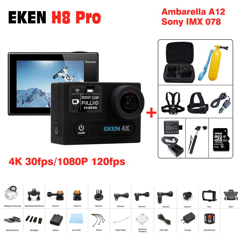 Outdoor Action Camera EKEN H8R H8 pro 1080P Sport cam deportivas HD waterproof Go Underwater Pro hero 5 170' Angle Mini Video DV original eken action camera eken h9r h9 ultra hd 4k wifi remote control sports video camcorder dvr dv go waterproof pro camera