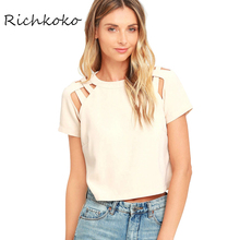 Richkoko Solid Color Sexy Women T-shirt Solid Crew Neck Short Sleeve Shoulder Woven Chic Tops Streetwear Casual Zipper Tshirt