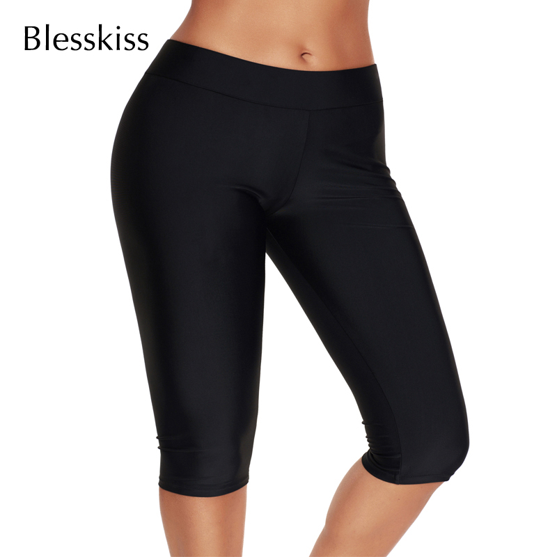 BLESSKISS Swim Shorts For Women Bikini Bottoms Capri Fitness Swimwear Swimsuit Trunks Surf Sport Gym Shorts Leggings Plus Size