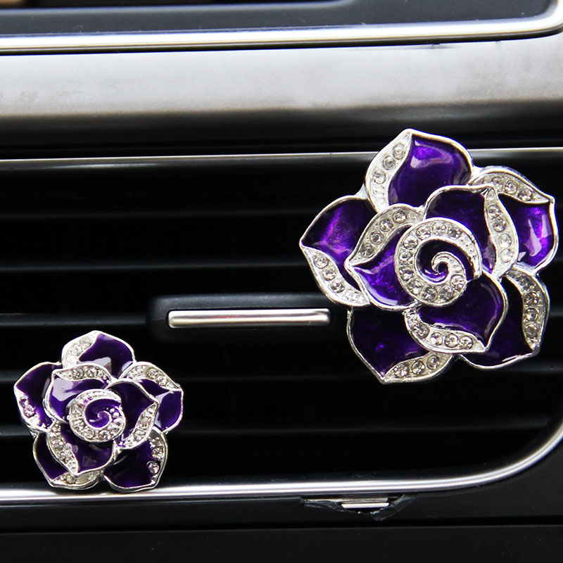 1 шт. автомобильный Цветок Твердый вентиляционный зажим духи Алмазный кондиционер цветы стиль - Название цвета: purple