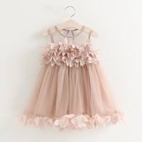 Verano nuevo floral vestido de malla para Niñas vestido hermoso de la princesa boda del partido vestido sólido Rosa Blanco niño Vestidos 2-6y