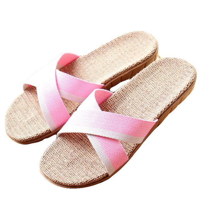 9d777ffe4d7 New Summer Women Flax Flip Flop Canvas Cross Linen Non-Slip Flat Sandals  Home Slippers Ladies Fashion Slides Casual Straw Shoes
