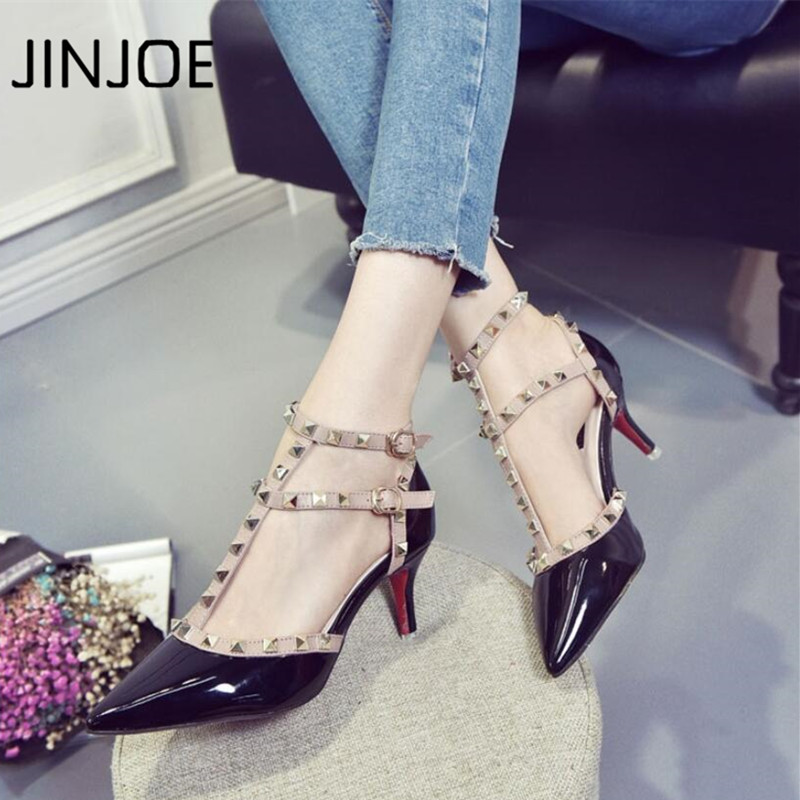 JINJOE New style shoes Woman Summer Solid color Sandals High-heeled shoe Pointed toe Sexy Buckle Strap Rivet single shoes 6.5cm new 2017 summer flat sandals sexy pointed toe designer side buckle sandals woman shoes tide brand woman sandals hollow flats