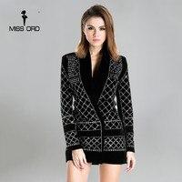 Missord 2017 Sexy V neck long sleeved geometric studded velvet blazer dress FT3612 Rhinestone