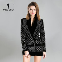 Free Shipping Missord 2015 Sexy V Neck Long Sleeved Geometric Studded Dress FT3612