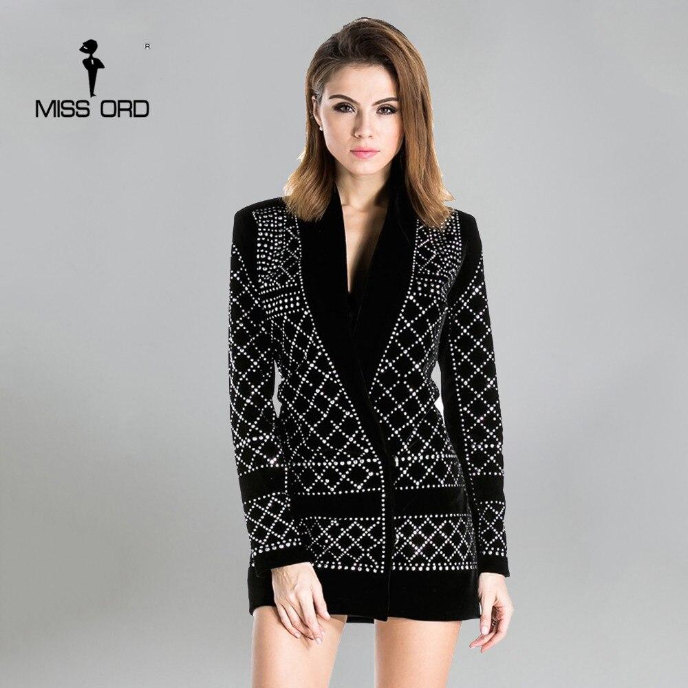 Missord 2017 v-cuello de manga larga geométrica velvet blazer dress ft3612 tacho