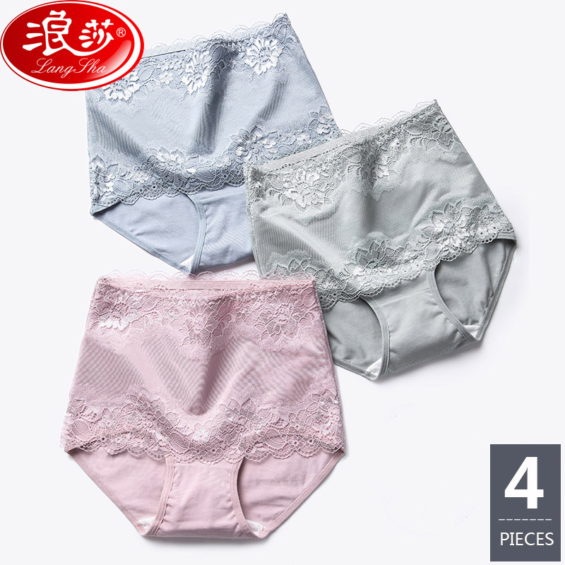 LANGSHA New 4Pcs/lot High Waist Women's   Panties   Slimming Cotton Briefs Body Shapers Underwear Lady Sexy Lace Seamless Underpants