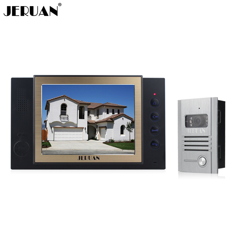 JERUAN 8 inch video door phone 1 monitor 1 camera video doorphone  intercom with video recording and Photo storage function jeruan 8 inch video door phone high definition mini camera metal panel with video recording and photo storage function