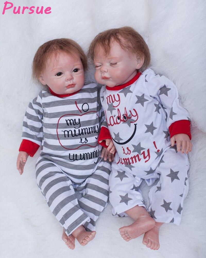 Pursue 22/55cm Real Doll Reborn Twin Soft Silicone Reborn Babies Dolls Creative Wedding Gift Children Birthday Gift Bebe Reborn
