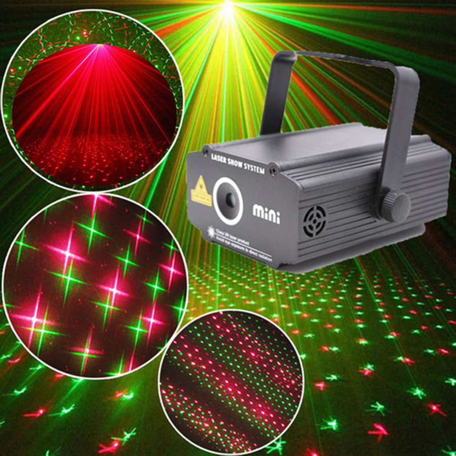 Party Birthday Mini 2in1 Pattern Effect R&G Audio Star Dot Laser Projector Stage Disco DJ Club Bar KTV Family Party Light Show