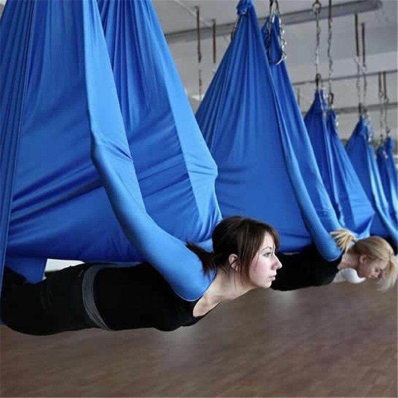 Élastique 5 mètres 2017 Aérienne yoga Hamac Swing Dernière Multifonction Anti-gravité yoga ceintures pour yoga formation yoga pour sportives