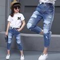 New 2016 Autumn Teens Jeans For Girls Ripped Girls Jeans Pants Designer Kids Jean Children's Elastic Waist Denim Long Pant