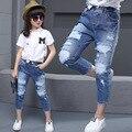 Nuevo 2016 Otoño Pantalones Vaqueros Para Chicas Adolescentes Pantalones Rasgados Pantalones Vaqueros de Las Muchachas Niños Diseñador Jean niños Denim Elástico de La Cintura de Largo Pant
