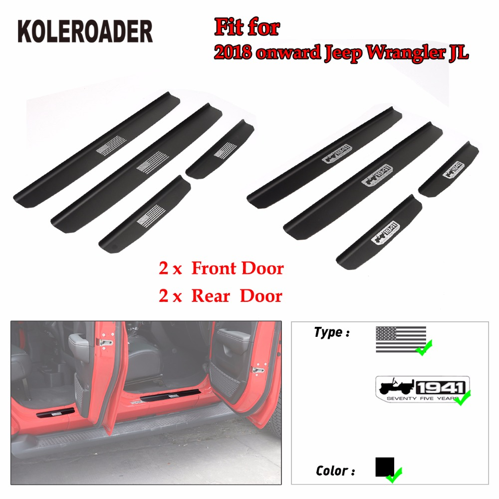 For Jeep Wrangler Jl 2018 2019 Car Scuff Plate Protector Guard Door