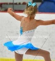 Kids Figure Skating Dress White Girls Figure Skating Clothing Children Figure Skating Dresses Custom Free Shipping F33