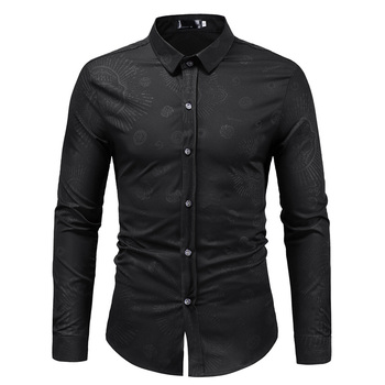 Skull Print Black Shirt Men Slim Fit Mens Casual Button Down Dress Shirt