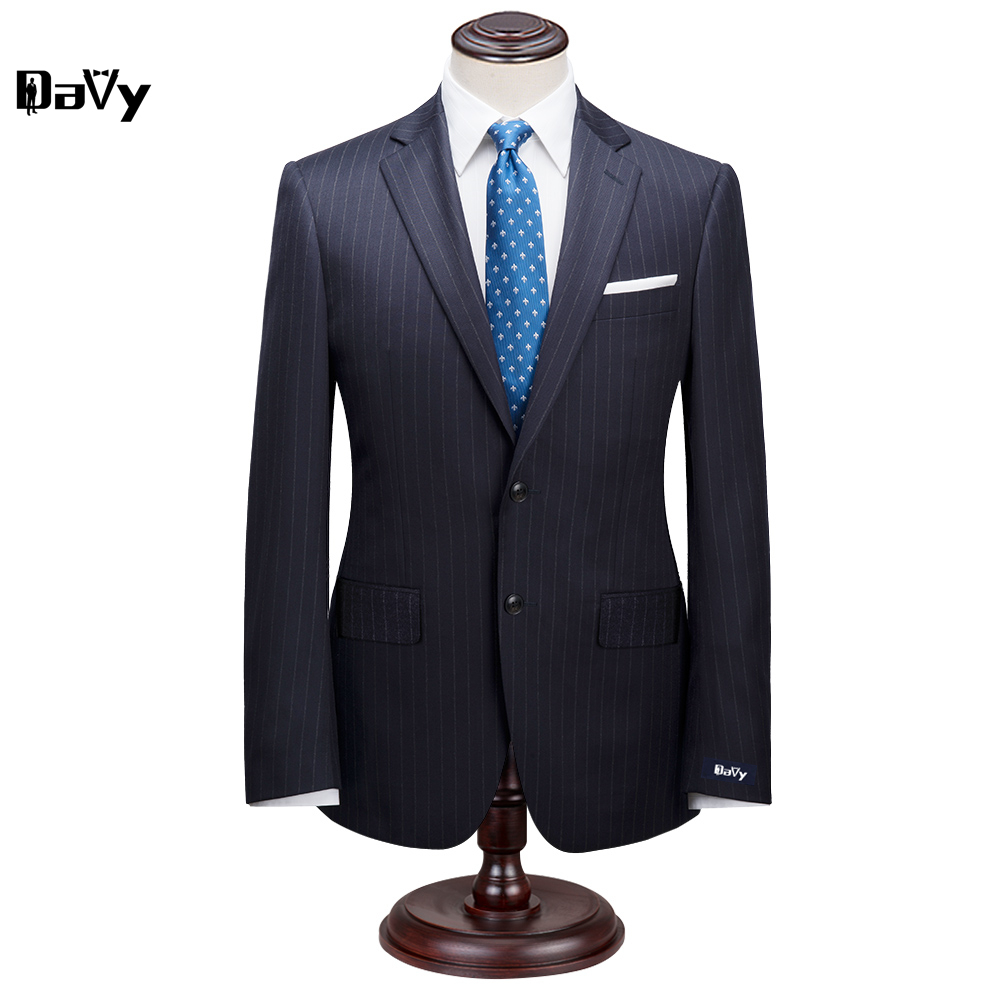 Custom Made Suit for man Jacket Pants Suit by hand Men Navy Striped Wool Business slim