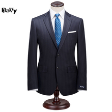 Custom Made Suit for man Jacket+Pants Suit by hand Men Navy Striped Wool Business slim classical men For Wedding Grooms suit man