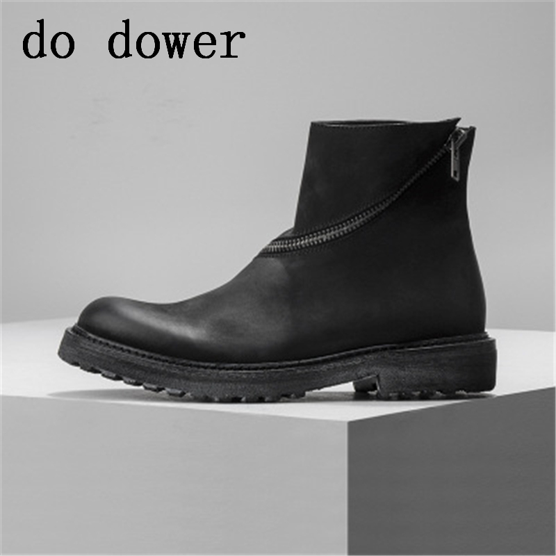Male Adult Fashion Ankle Boots Solid Fashion Casual Flats Spring Luxury Trainers Zip Rivet Sneaker Men Genuine Leather Shoes new men genuine leather shoes luxury trainers summer male adult shoes casual flats solid spring black lace up shoes