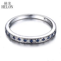 HELON Fine Jewelry Solid 10K White Gold 100% Genuine Natural Sapphire & Diamond Engagement Wedding Women Band Ring Free shipping