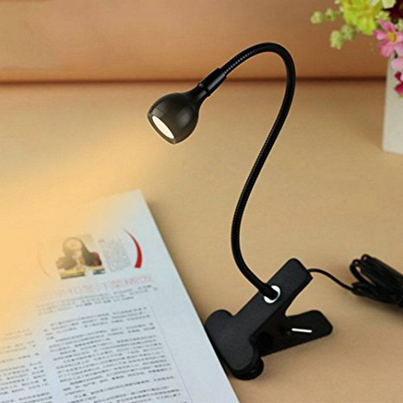 LED USB Flexible Stand Clip Reading Light Beside Table Computer Desk Night Lamp Student Dormitory Home Lighting Eye-protection