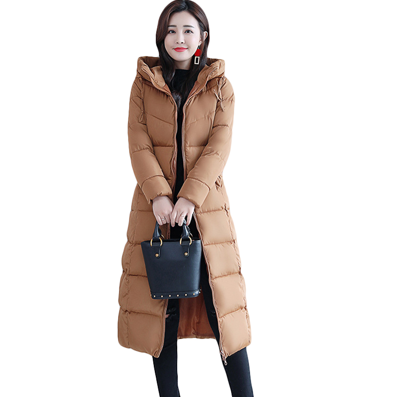 4XL Fashion Winter Jacket Women 2018 Thick Warm Female Cotton Coat   Parkas   Long Jaqueta Feminina Inverno Women Hooded Coat CM862