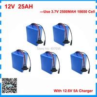 Бесплатная таможенная плата оптовая продажа 5 шт./лот 350 Вт 12 В 25AH батарея литий ионный аккумулятор 12 В 25ah с 5A зарядное устройство 12 В батарея