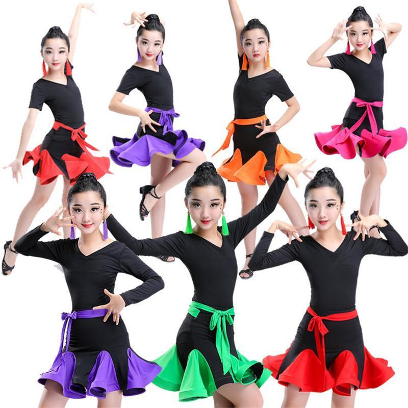 Girl short Sleeves Standard Latin Dance Dress Children Ballroom lace skirt Dresses Kids Salsa Rumba Cha Cha Samba Tango Dress