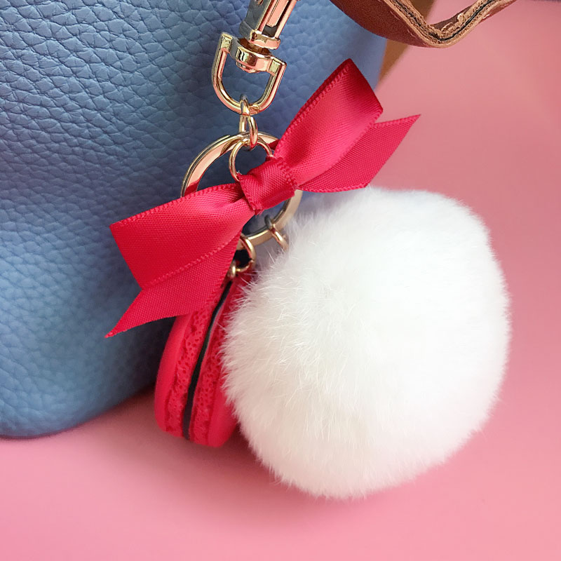 Round Key Chain France Macarons Keychains Rabbit Real Fur Ball Key - Fashion Jewelry - Photo 6