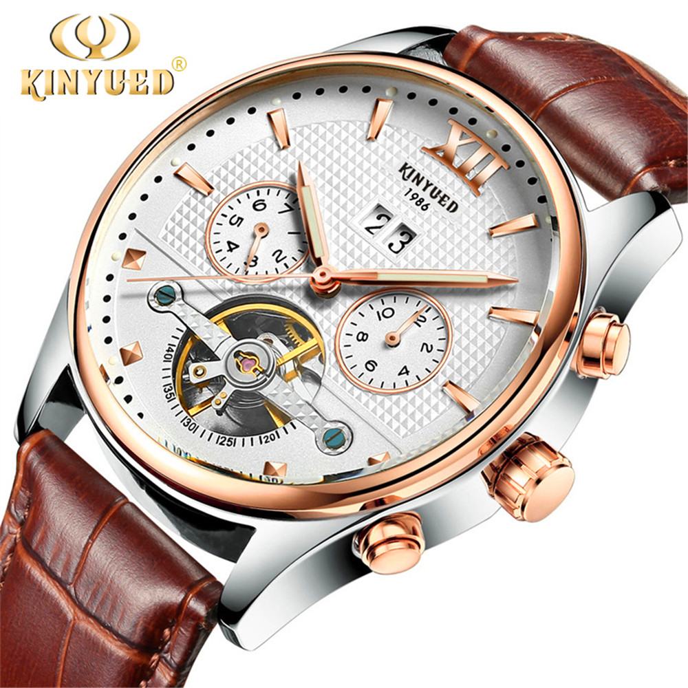 2017 KINYUED Skeleton Tourbillon Mechanical Watch Automatic Men Classic Rose Gold Leather Mechanical Wrist Watches Reloj Hombre new kinyued skeleton tourbillon mechanical watch automatic men classic rose gold leather mechanical wrist watches reloj hombre