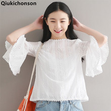 Qiukichonson White Shirt Women 2018 Spring Summer Sweet Cute Ladies Tops Crochet Hollow Out Flare Sleeve Embroidery Blouse