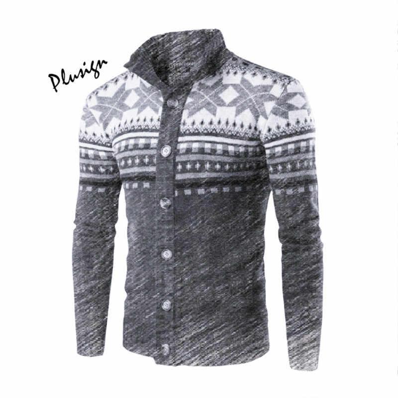Для мужчин водолазка вязаный кардиган свитер серого цвета Chic печати с длинным рукавом Тонкий Топы муж куртка Повседневное Дата наряды для осень-зима