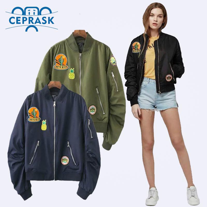 Ceprask mujeres bomber jacket  capa femenina traje de vuelo jacket women coat y parche bordado de las mujeres capa de la chaqueta ocasional