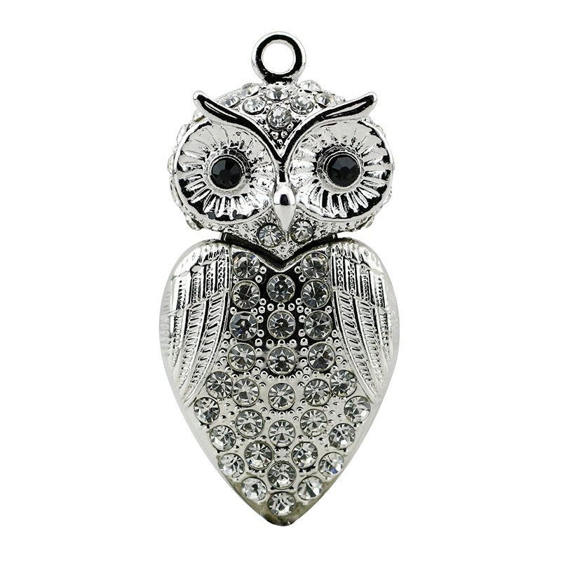 Animal USB Flash Drive Metal Diamond Owl Pendrive Nighthawk Pen Drive 4GB 8GB 16GB 32GB 64GB USB Memory Stick Gift With Necklace 3