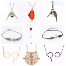 Collar de Metal Harri Potter, colgante de ala de Ángel de estilo Vintage de piedra roja, collar con Snitch Dorada, figuras de acción de juguete para niños